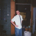 Scott loading gear after a show in Omaha at the 13th St. Coffeehouse, 12 October 2002