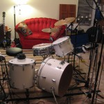 Stage right view w/ kick (EV RE 320), snare top (Sennheiser e609) and tom mics.  Toms are mic'd on the bottom head